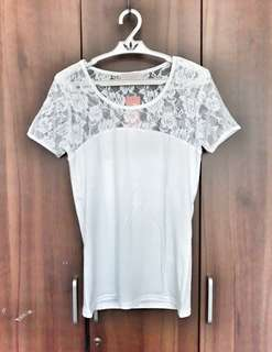 White Round Neck Top with Lace Accent