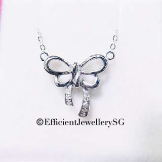 18K 750 White Gold Ribbon Necklace