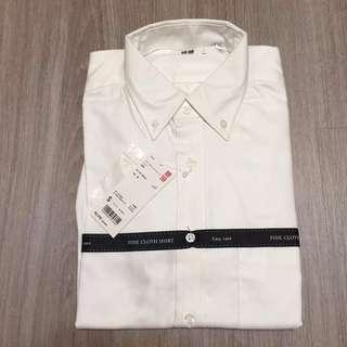 🚚 [Uniqlo]降價 男生 精紡府綢襯衫 長袖襯衫 白色 S
