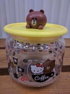 七仔line friend x sanrio characters 玻璃樽