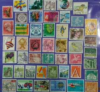 Different 47 pcs Switzerland Helvetia Used Stamps