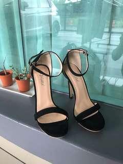 Black strap high heel