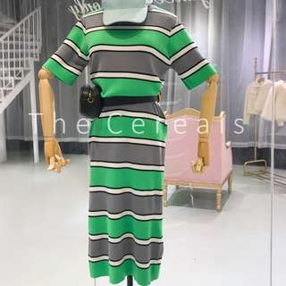 TC2284 Korea Stripped Long Knitted Dress