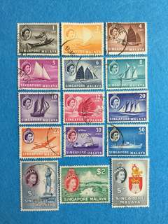 1955 Singapore Malaya QE 2 Definitive Series 15 Values  Complete Set Very Fine Used
