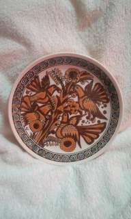 Vintage Hand Made Decorative Plate from Greece - Brown Birds