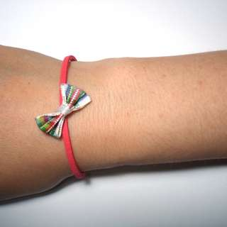 RED LEATHER BRACELET WITH RIBBON