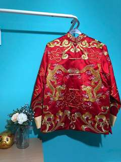 Traditional Wedding Double Dragon Cheongsam