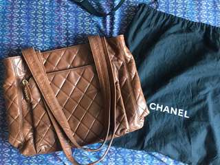 Chanel lambskin brown vintage shopper tote with dust bag