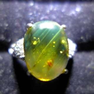 緬甸高淨度金藍蟲珀鑲s925銀活口介指13*10*4.5mm厚,約重2.6g$450