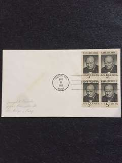 US 1965 Churchill Blk4 FDC stamps