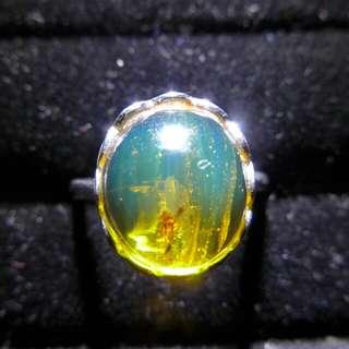 緬甸高淨度金藍蟲珀鑲s925銀活口介指11.2*9.9*5mm厚,約重2.6g$450