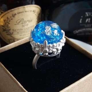 ✨ 冷酷冰山美景 🌾 手工製銀箔寶石配亞銀色花冠戒指 ✨