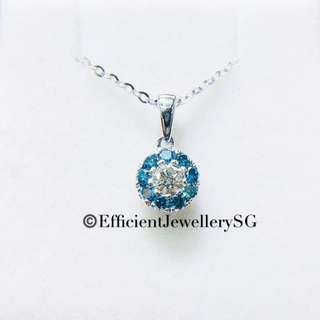 18K 750 Blue Diamond Necklace