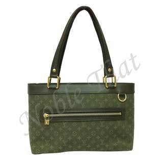Louis Vuitton Bag - Lucille GM Mini Monogram Canvas/Leather Green Shoulder Bag 法國名牌帆布/真皮肩包