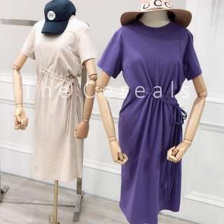 TC2287 Korea Drawstring Irregular Dress (Khakis,Blue)