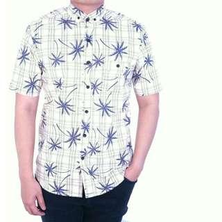 Grosir Kemeja Casual Pria Lengan Pendek Motif Cream Corak Palm Tree Kemeja Kerja Kuliah Santai