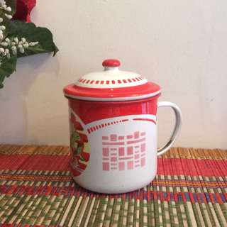 Vintage enamel duoble happiness mug