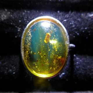 緬甸高淨度金藍蟲珀鑲s925銀活口介指14.8*11.5*5.6mm厚,約重2.9g$450