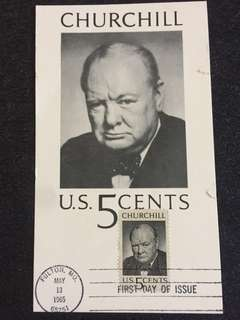 US 1965 Churchill Maxicard FDC stamp