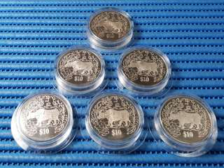 1997 Singapore $10 Cupro-Nickel Proof-Like Coin in Special Capsule  ( Price Per Piece )