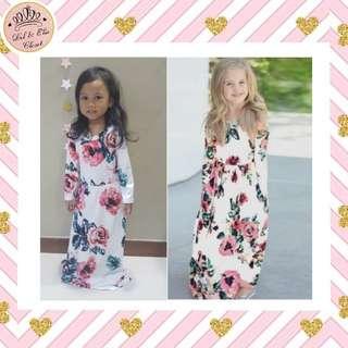💥HOT-SELLING! Kids Floral Print White Maxi Dress