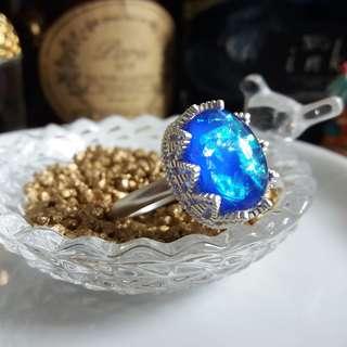 ✨ 海洋之虹光 🌾 手工製虹光藍貝母寶石配亞銀色蕾絲皇冠戒指 ✨
