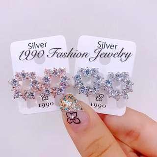 韓國東大門進口1990新款17夏圓形花環閃鑽925銀針時尚閃亮耳環