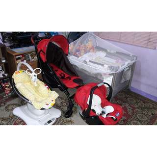 Package: 4moms mamaroo baby rocker, Chicco liteway plus stroller with car seat and Graco Pack n Play baby crib