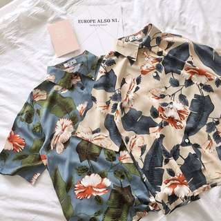 PO Lorelei Vintage Floral Short Sleeved Button Down Shirt