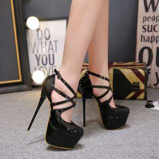 Size 34-40 Criss Cross Rounded Toes Extremely High Heels