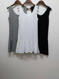 韓國竹節下擺荷葉背心洋裝