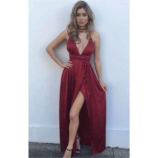 Wine red ball dress