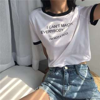 PO 'Im Not A Taco!' Tumblr Ringer Crop Top