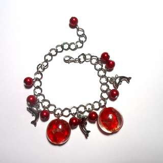NEW RED MURANO GLASS BRACELET WITH CHARMS
