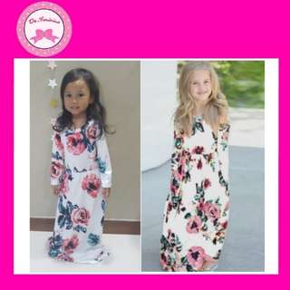 💥HOT SELLING.. Kids Floral Print White Maxi Dress