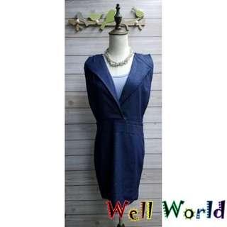 #2304 純色淨色V領背心連身裙牛仔裙(韓國製造)