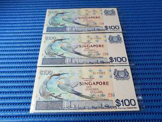Singapore Bird Series $100 Note A/21 175081 - 175083 Run 3X Dollar Banknote Currency