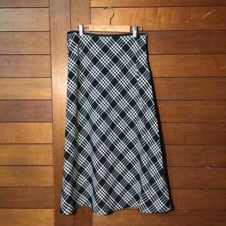 🛑經典古著 神祕能量致勝女孩 復古黑白格紋格子裙 蘇格蘭紋 中長顯瘦包臀傘擺日式長裙