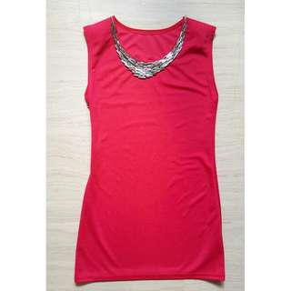 Titanium Chained Shoulder-Padded Dress (Red)