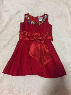 VGUC BABY FASHIONISTA BEJEWELLED RED DRESS
