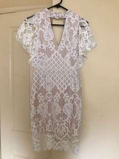 Brand new flattering white lace dress