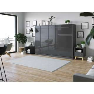 Murphy Bed 140x200cm Highgloss Anthracite curved leg