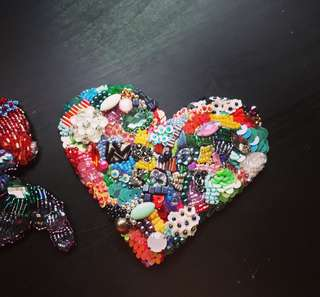 Unique handmade embroidered, beaded heart-shaped patch