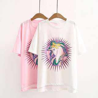(XL~4XL) 2018 Summer Korean Loose Cartoon Pony Print Short Sleeve T-Shirt