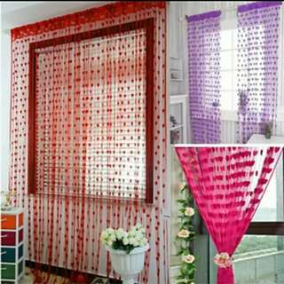Tirai benang motif jendela pintu pembatas ruangan