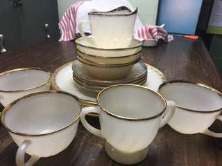 Set of goldplated plates