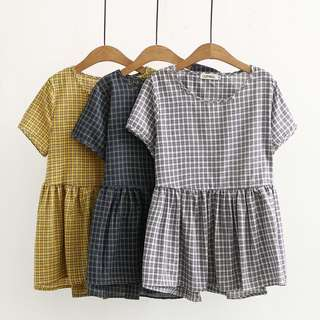 (XL~4XL) Summer Korea lattice short-sleeved baby shirt shirt half sleeve