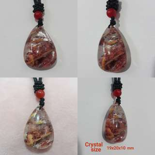 ✨Special Offer✨ Very Nice, Natural colourful Lodalite pendant (多彩幽灵吊坠). With rope chain.