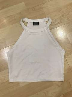 Zara White Halter Crop Top