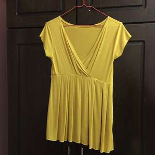 Mustard Yellow V Top Blouse #20under